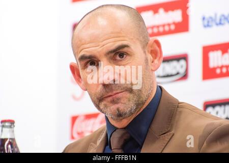 Gijon, Spain. 12th February, 2016. Paco Jemez (coach, Rayo Vallecano) at the press conference of football match - Stock Photo