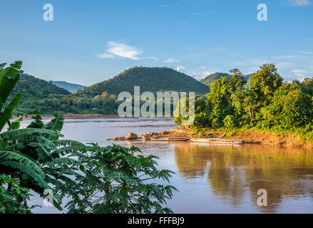 Lao People's Democratic Republic, Laos, confluence of the Mekong and Nam Khan Rivers at Luang Prabang - Stock Photo