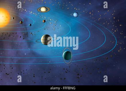 Solar System Illustration Of The Planets In Orbit Around The Sun With Stock Photo Royalty Free
