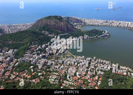 View from Corcovado in Rio de Janeiro, Brazil - Stock Photo