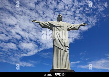 The statue of Christ the Redeemer atop Corcovado, Rio de Janeiro, Brazil - Stock Photo