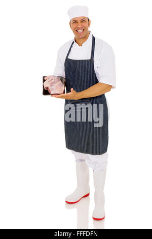 portrait of happy butcher showing fresh meat isolated on white background - Stock Photo