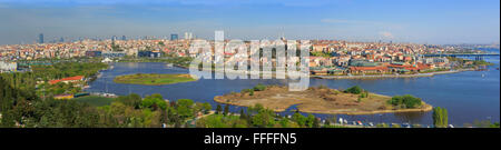 View of Golden Horn from Pierre Loti Cafe, Eyup, Istanbul, Turkey - Stock Photo