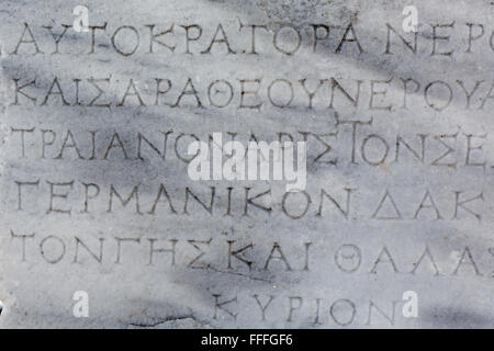 Ancient inscription in Greek language, Pergamon, Bergama, Izmir Province, Turkey - Stock Photo