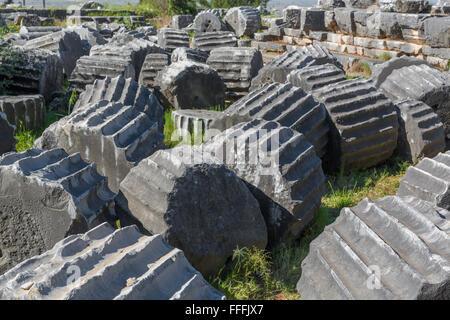 Temple of Athena, Ruins of ancient Priene, Aydin Province, Turkey - Stock Photo