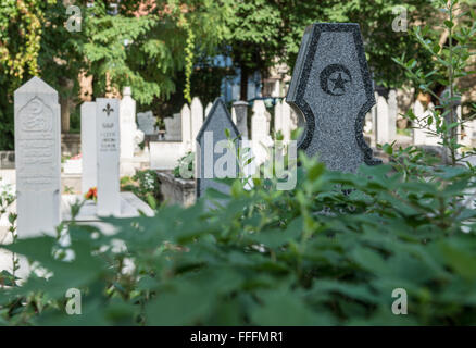 Muslim cemetery at Brace Fejica street in Mostar city, Bosnia and Herzegovina - Stock Photo