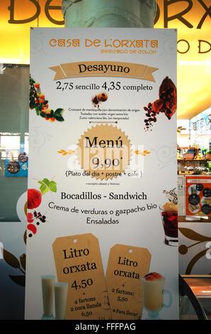 Casa de l'Orxata, restaurant in Mercado de Colón, Columbus market, Valencia Spain - Stock Photo