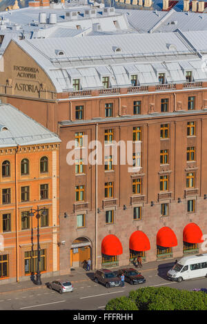 Hotel Astoria, View from the Colonnade of St. Isaac's Cathedral, Saint Petersburg, Russia - Stock Photo