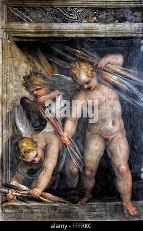 Frescoe and ornamental details of Villa Farnesina. Rome, Italy - Stock Photo