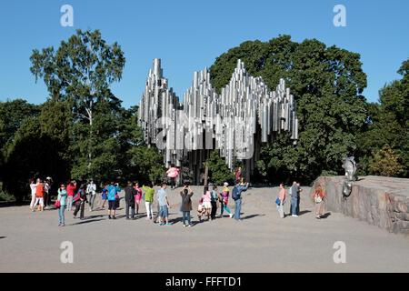 The Sibelius Monument (Sibelius-monumentti) by Finnish artist Eila Hiltunen in Sibelius Park, Töölö, Helsinki, Finland. - Stock Photo