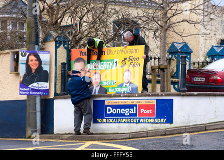 Ardara, County Donegal, Ireland. February 13th 2016. Posters for General Election candidates being put up. The Irish - Stock Photo