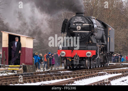 The newly restored Flying Scotsman locomotive on the East Lancashire railway undergoing tests. - Stock Photo