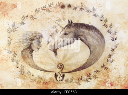 Hand drawing Elf and unicorn with beautiful flower. Draw on vintage paper. Profile portrait. Sepia color. - Stock Photo