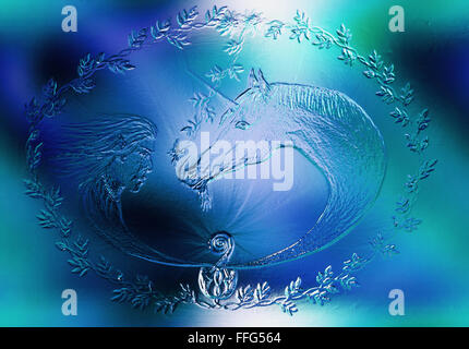 Elf and unicorn with beautiful flower. Draw on vintage paper. Profile portrait. Glass and ice structure, blue color - Stock Photo