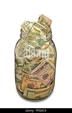 Cash Jar Full of Money - Stock Photo