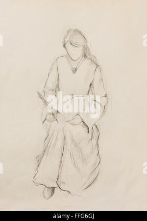 Sketch of woman in historical dress, writing quill pen - Stock Photo