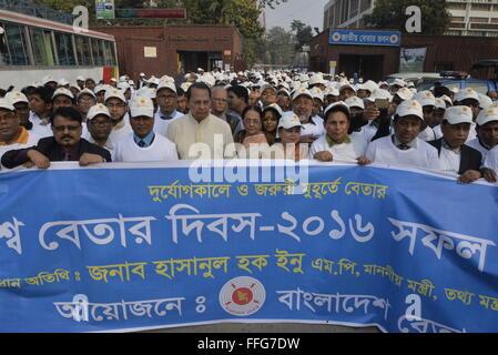 Bangladesh Radio broadcaster held a rally to celebrate world radio day at Agargaon in Dhaka, Bangladesh. On February - Stock Photo