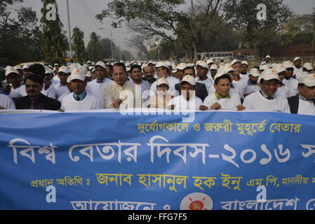 Bangladesh Radio broadcaster held a rally to celebrate world radio day at Agargaon in Dhaka, Bangladesh. On February - Stock Photo