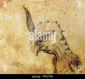 pencil drawing bird dragon on old paper background - Stock Photo