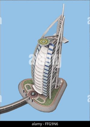 Burj-al-arab Dubai digital architectural rendering - Stock Photo