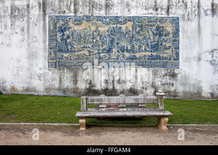 Azulejos tiles on Agues Livres Aqueduct wall in Lisbon, Portugal - Stock Photo