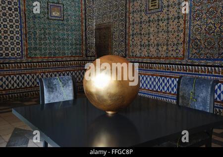 Golden Sphere at Pilatos House, Seville, Spain. - Stock Photo