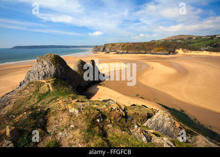 Three Cliffs Bay on the Gower Peninsular in South Wales captured from the cliffs to the East of the beach. - Stock Photo