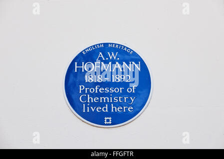 A commemorative blue plaque for August Wilhelm von Hofmann (8 April 1818 – 5 May 1892) display on a wall in London, - Stock Photo