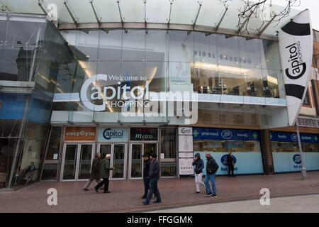 General view of Capitol Shopping centre on Queen Street in Cardiff, South Wales. - Stock Photo