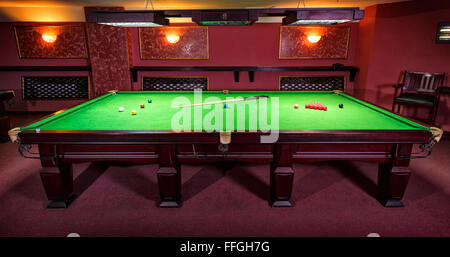 ... Pool Table, Set Up For Game   Stock Photo