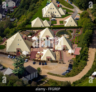 Aerial view, Galileo Park Sauerland pyramids, Lennestadt, Sauerland, North Rhine-Westphalia, Germany, Europe, Aerial - Stock Photo