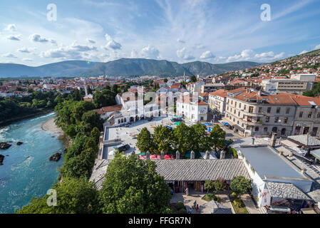 Aerial view from Koski Mehmed Pasha Mosque on Mostar city over Neretva river, Bosnia and Herzegovina - Stock Photo