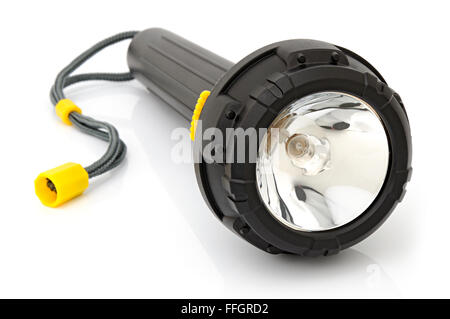 Electric torch for diving on a white background - Stock Photo