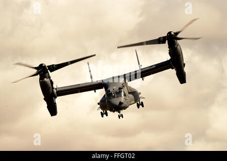 A CV-22B Osprey assigned to the 7th Special Operations Squadron performs an aerial display of its capabilities during - Stock Photo