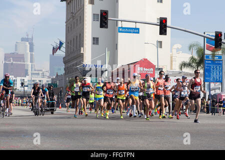 LA, California, USA. 13th Feb, 2016. The start of the mens USA marathon trials in Los Angeles California - Stock Photo
