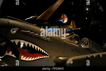 The Curtiss P-40 Warhawk was an American single-engine, single-seat, all-metal fighter and ground attack aircraft - Stock Photo