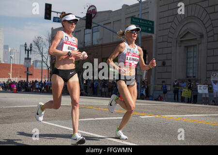 LA, California, USA. 13th Feb, 2016. Amy Cragg and Shalane  Flanagan lead the women's race in the  U.S. Olympic - Stock Photo