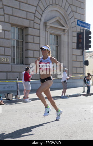 LA, California, USA. 13th Feb, 2016. Shalane Flanagan: finished the women's race in third place with a time of 2:29:26 - Stock Photo