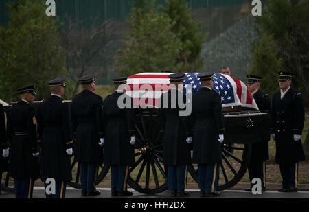 Members of the Army's 3rd Infantry Regiment's Caisson Platoon align to carry the remains of Army Air Forces Sgt. - Stock Photo