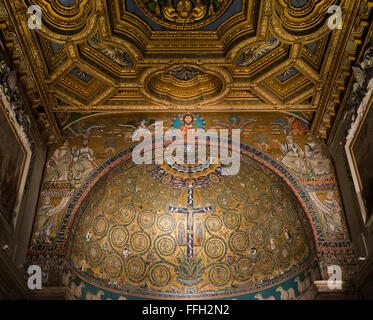 The mosaic apse of the Basilica of San Clemente in Rome was built in the 12th century, along with the present structure. - Stock Photo