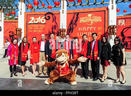 Los Angeles, California, USA. 13th Feb, 2016. People pose for photos during a celebration for promoting the 2016 - Stock Photo