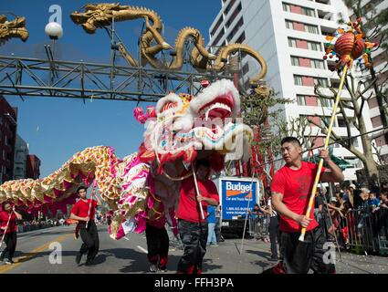 Los Angeles, USA. 13th Feb, 2016. Performers take part in the Chinese New Year Parade in Los Angeles, the United - Stock Photo