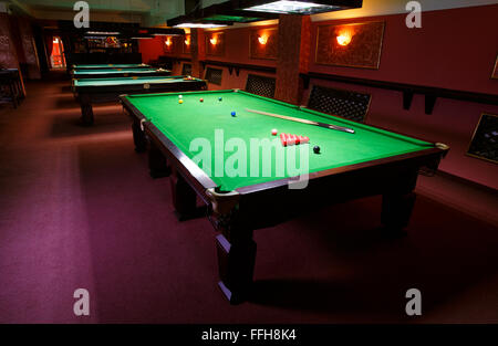 Pool Table, Set Up For Game   Stock Photo