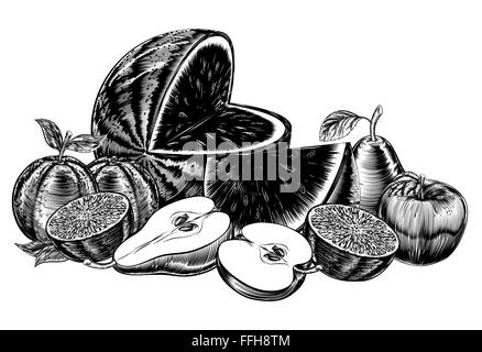 An original illustration of a fruit in a vintage woodcut or woodblock style, including apples, pears, water melon, - Stock Photo