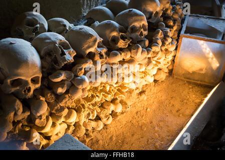 Skulls in Fontanel cemetery, Sanità quarter Naples - Stock Photo