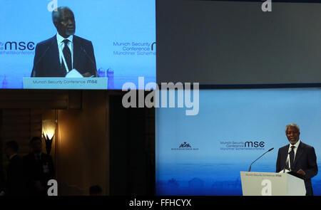 Munich. 14th Feb, 2016. Former UN secretary-general Kofi Annan delivers a speech during the 52th Munich Security - Stock Photo