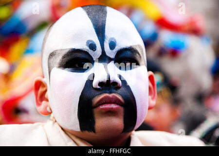 London, UK. 14th February 2016. A young Chinese boy at Chinese New Year Parade 2016  in central London, the biggest - Stock Photo