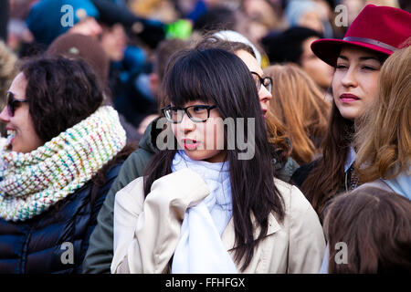 London, UK. 14th February 2016. Thousands of people celebrate the Chinese New Year 2016 - The Year of the Monkey - Stock Photo