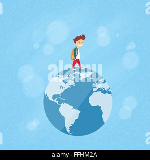 Little Boy Walk on Globe World Map Concept Travel - Stock Photo