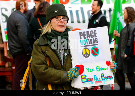 Edinburgh, Scotland, UK. 14th Feb, 2016. The 'Stop Trident' campaign held rallies across Scotland including Edinburgh - Stock Photo